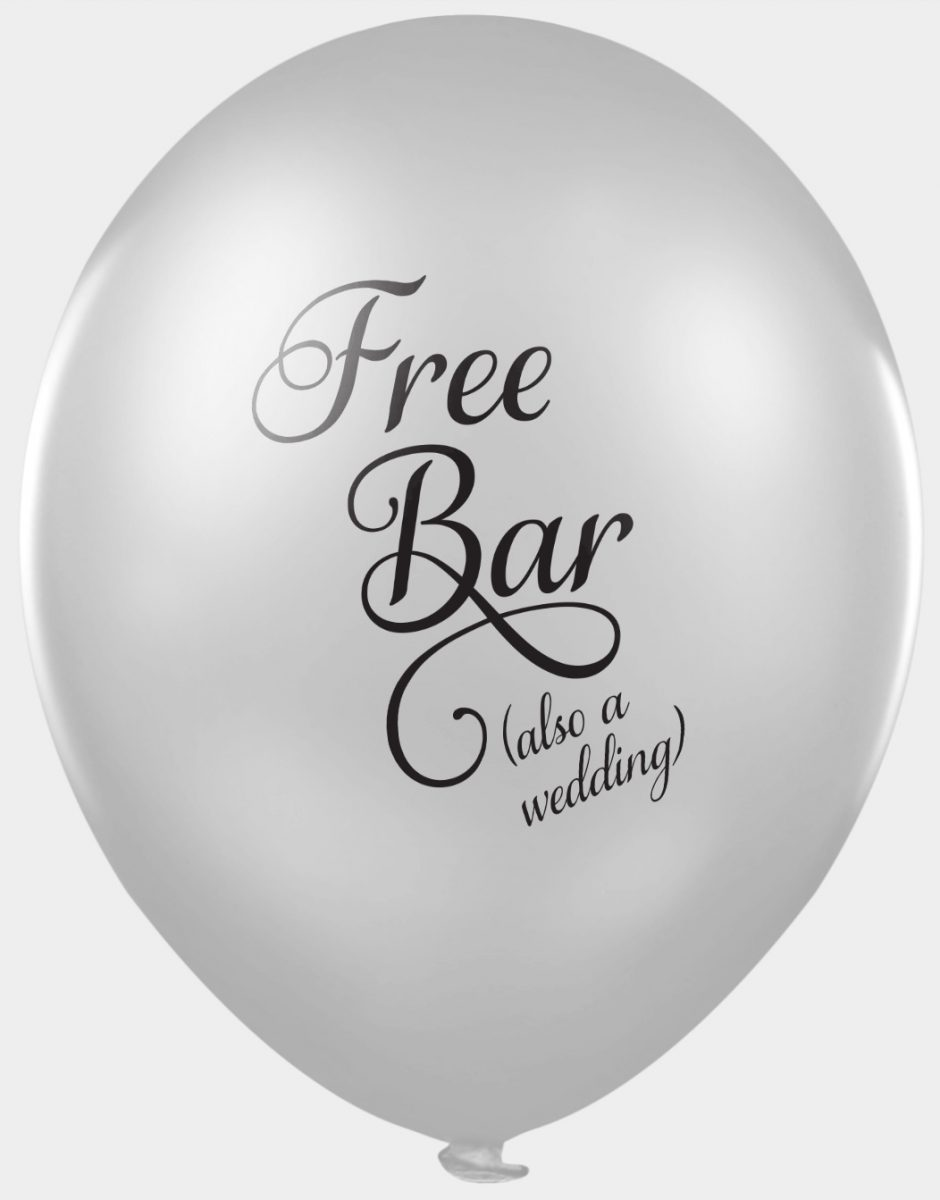 Funny offensive wedding balloons for photobooths - free bar