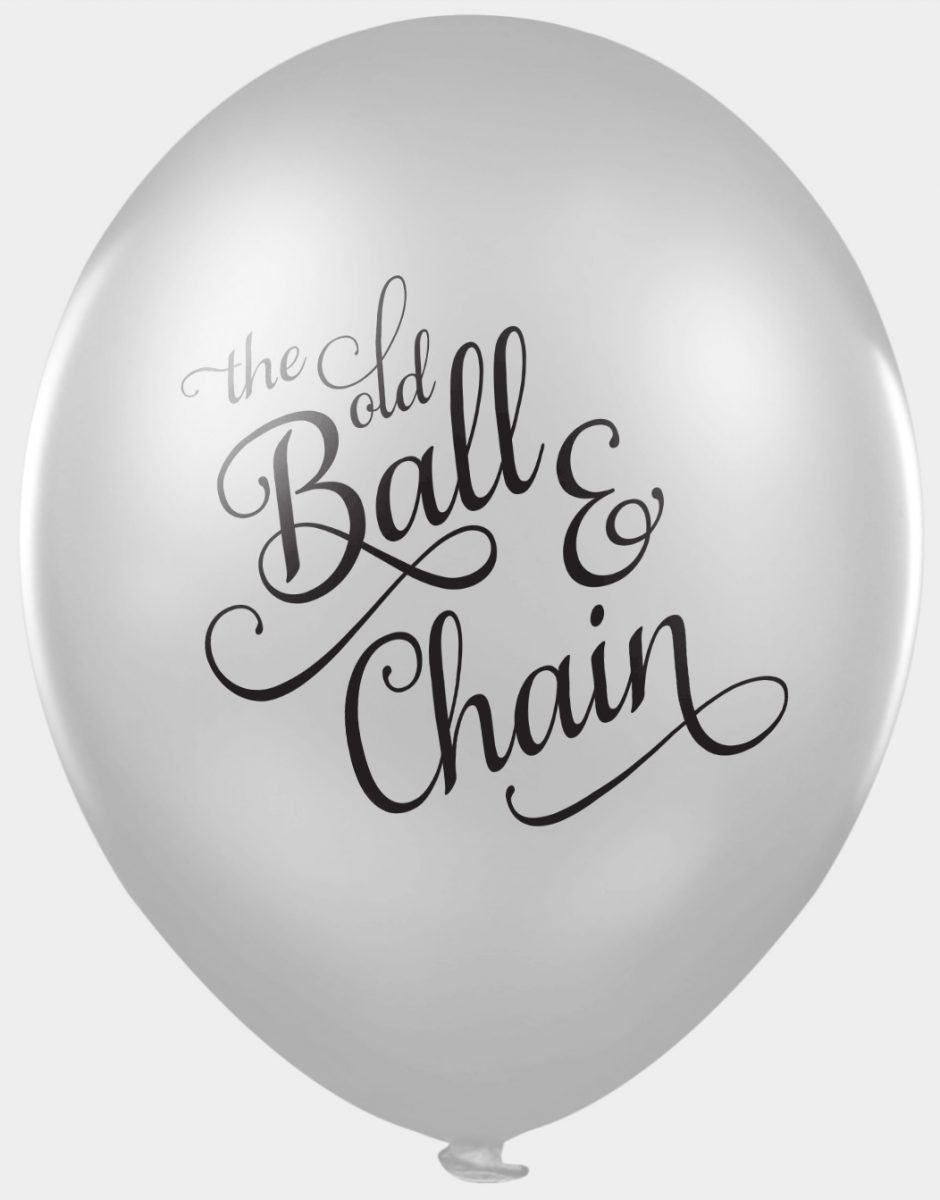 Funny wedding balloons - the old ball and chain
