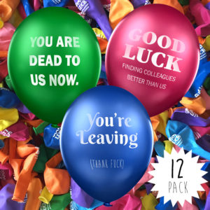rude office leaving party balloons